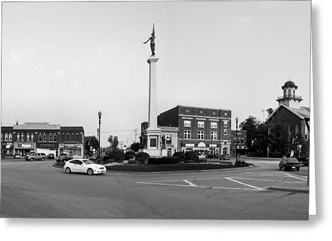 Town Square Greeting Cards - Angola Indiana Panorama Greeting Card by Missvain