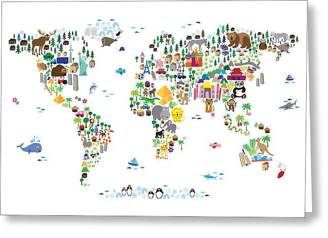 Map Of The World Greeting Cards - Animal Map of the World for children and kids Greeting Card by Michael Tompsett