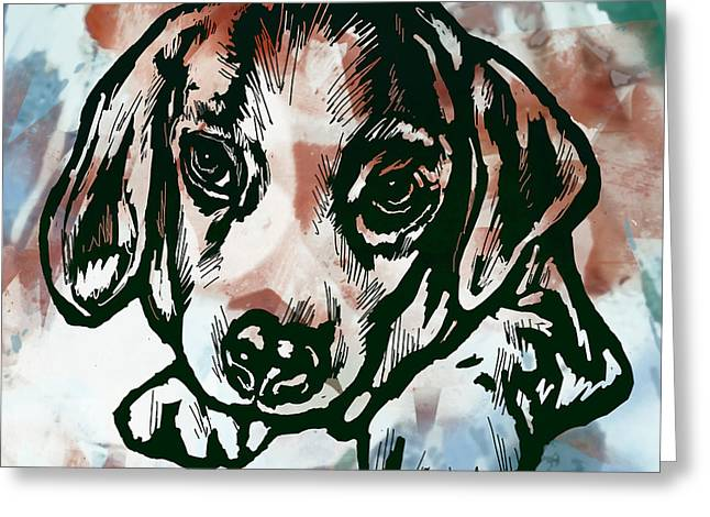 Best Friend Greeting Cards - Animal Pop Art Etching Poster  - Dog  Greeting Card by Kim Wang