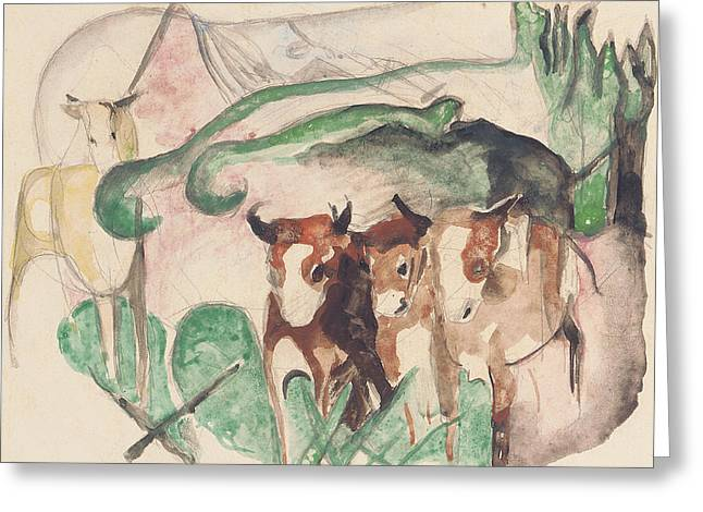 Expressionist Horse Greeting Cards - Animals In A Landscape Greeting Card by Franz Marc