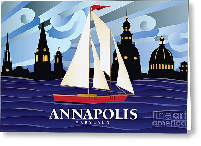 Annapolis Greeting Cards - Annapolis Skyline Red sail boat Greeting Card by Joe Barsin