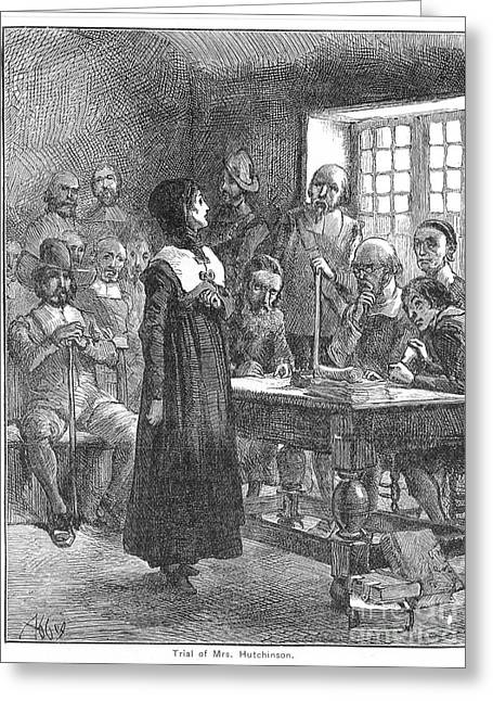 Reformer Greeting Cards - Anne Hutchinson (1591-1643) Greeting Card by Granger