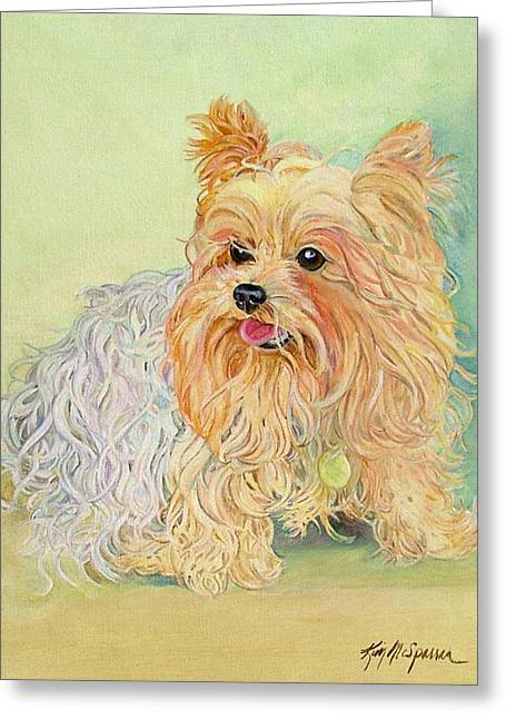 Mans Best Friend Greeting Cards - Annies Yorkie Greeting Card by Kimberly McSparran