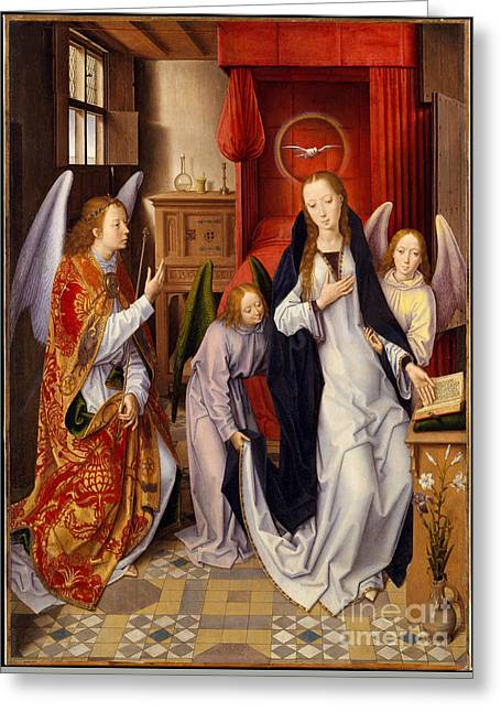 Annunciation Greeting Card by Hans Memling