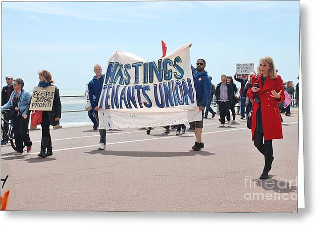 Anti Greeting Cards - Anti austerity march in Hastings Greeting Card by David Fowler