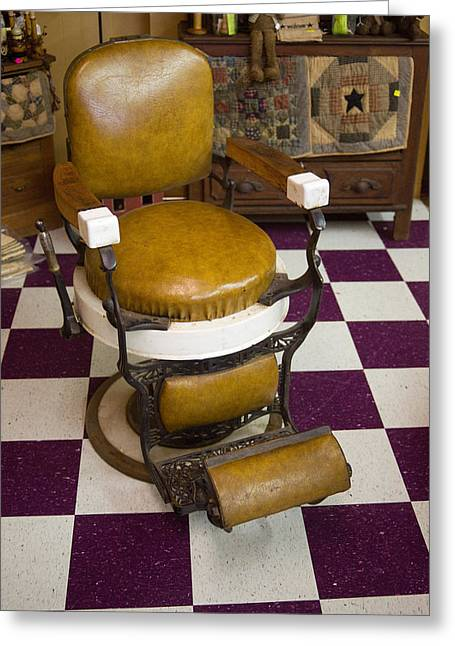 Barber Chair Greeting Cards - Antique Barber Chair 3 Greeting Card by Douglas Barnett