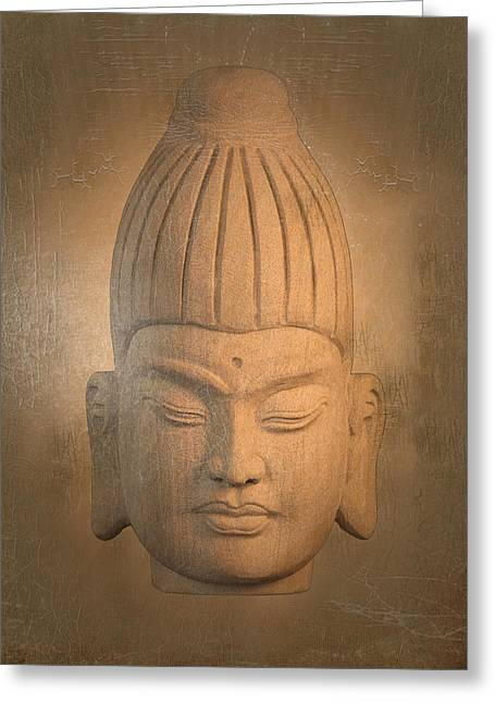Tranquil Sculptures Greeting Cards - antique oil effect Buddha Burmese. Greeting Card by Terrell Kaucher