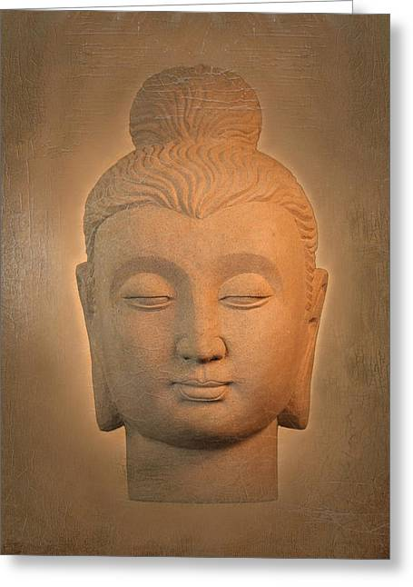 Tranquil Sculptures Greeting Cards - antique oil effect Buddha Gandhara. Greeting Card by Terrell Kaucher