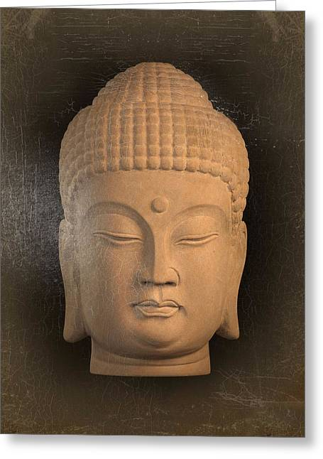 Tranquil Sculptures Greeting Cards - antique oil effect Buddha Korean ,, Greeting Card by Terrell Kaucher