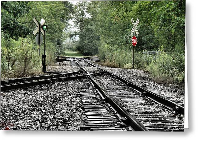 Coal Greeting Cards - Antique Railroad Track Greeting Card by Scott Hovind
