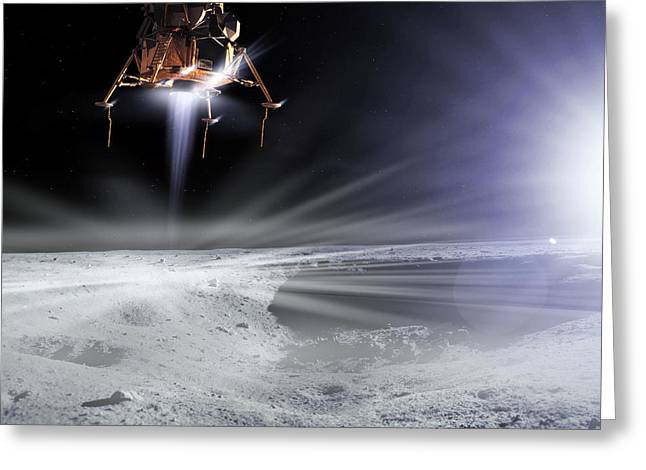 Lm Greeting Cards - Apollo 11 Moon Landing, Computer Artwork Greeting Card by Detlev Van Ravenswaay