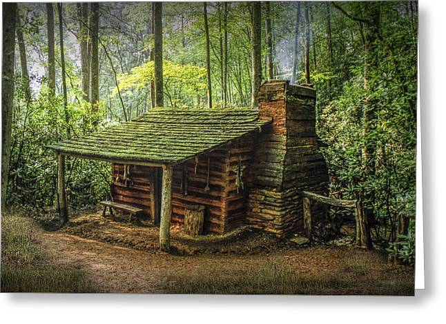 Log Cabins Greeting Cards - Appalachian Mountain Cabin Greeting Card by Randall Nyhof