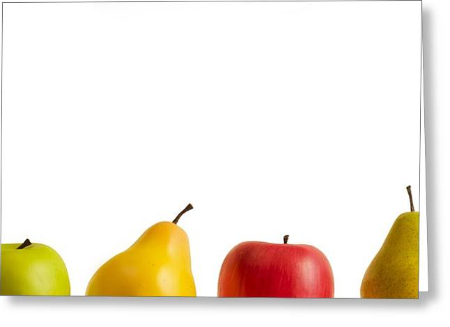Fruits And Vegetables Greeting Cards - Apples And Pears Greeting Card by Chris Knorr