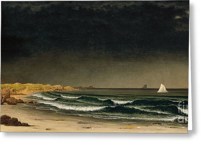 Approaching Storm Greeting Cards - Approaching Storm - Beach near Newport Greeting Card by Celestial Images