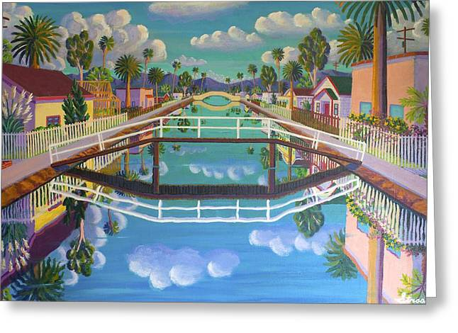 Venice Beach Palms Greeting Cards - April on Retro Canal Greeting Card by Frank Strasser