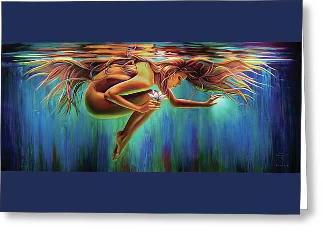 Aquarian Rebirth Greeting Card by Robyn Chance