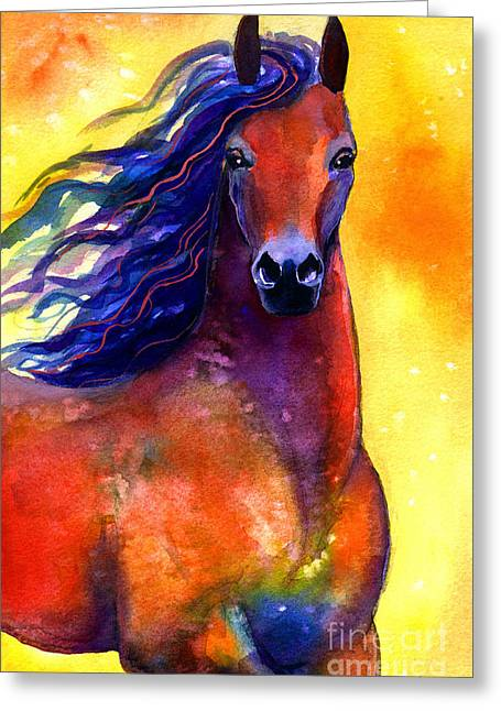 Contemporary Equine Greeting Cards - Arabian horse 1 painting Greeting Card by Svetlana Novikova