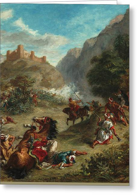 Arabs Skirmishing In The Mountains Greeting Card by Eugene Delacroix