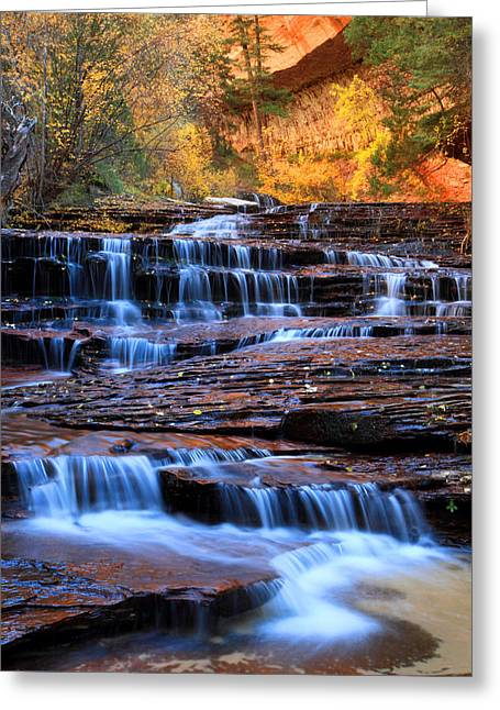 Archangel Greeting Cards - Archangel falls in Zion Greeting Card by Pierre Leclerc Photography
