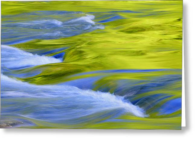 Blue Green Wave Greeting Cards - Argen River Greeting Card by Silke Magino