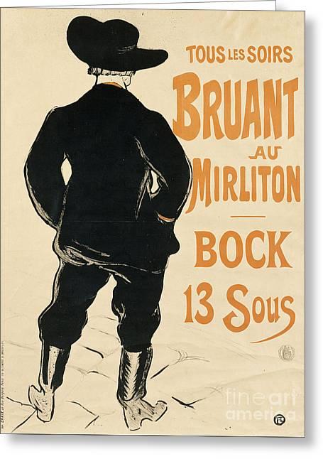 Aristide Bruant Greeting Card by Henri de Toulouse Lautrec
