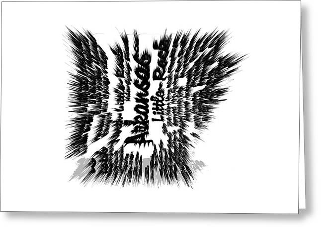 Arkansas Razorbacks Mixed Media Greeting Cards - Arkansas Typographic Map Greeting Card by Brian Reaves