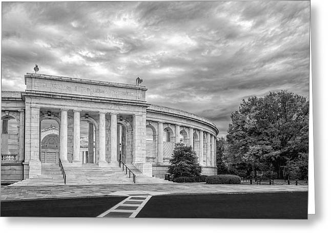 Iconic Greeting Cards - Arlington Memorial Amphitheater BW Greeting Card by Susan Candelario