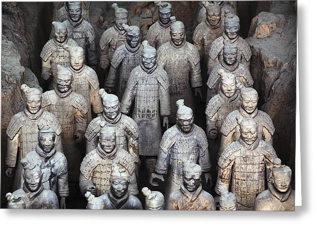 Xian Greeting Cards - Army Of Terracotta Warriors In Xian Greeting Card by Axiom Photographic