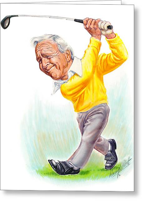 Caricatures Greeting Cards - Arnie Greeting Card by Harry West