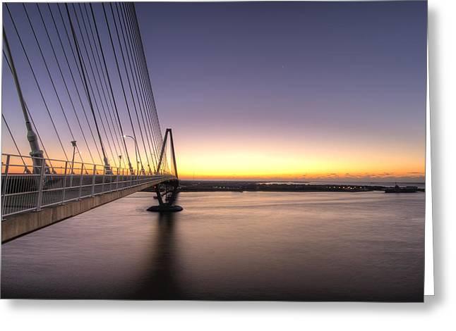 Mt Digital Greeting Cards - Arthur Ravenel Jr Bridge Sunrise Greeting Card by Dustin K Ryan