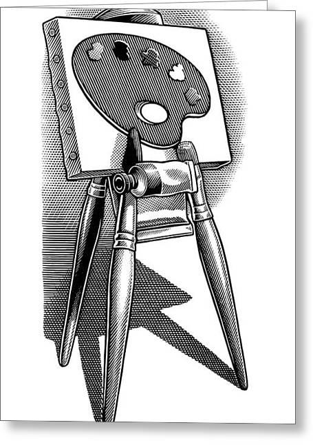 Linocut Greeting Cards - Artists Easel, Artwork Greeting Card by Bill Sanderson