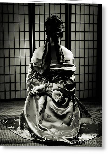Asian Woman With Her Hands Tied Behind Her Back Greeting Card by Oleksiy Maksymenko