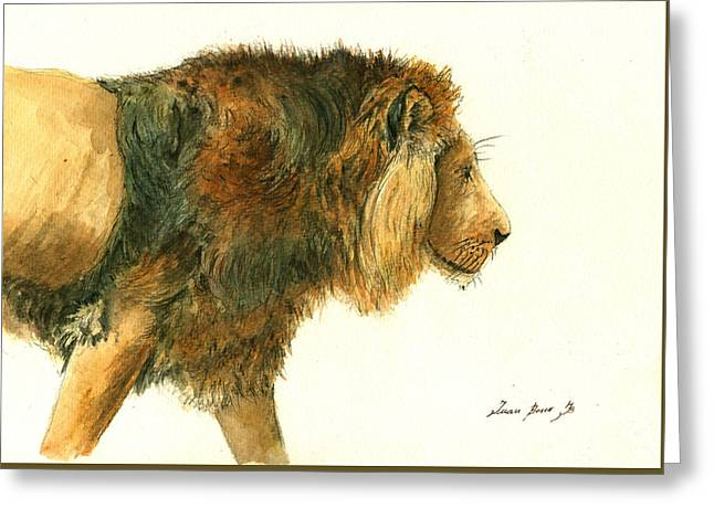 Asiatic Lion Greeting Card by Juan Bosco