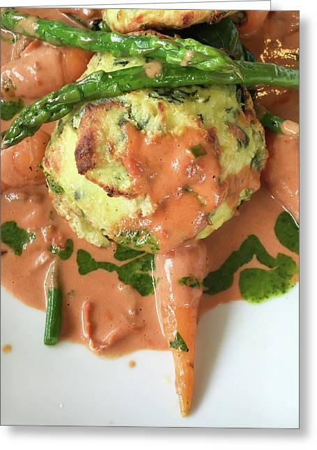 Asparagus Dish Greeting Card by Tom Gowanlock