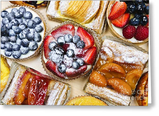 Portion Greeting Cards - Assorted tarts and pastries Greeting Card by Elena Elisseeva