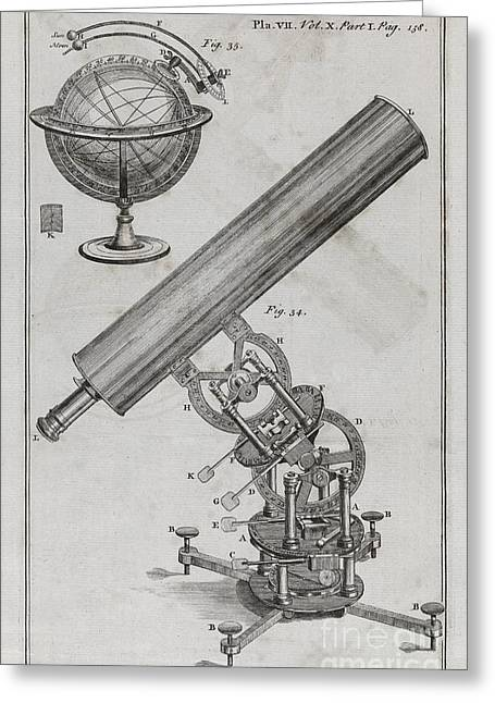 Philosophical Transactions Greeting Cards - Astronomical Equipment, 18th Century Greeting Card by Middle Temple Library