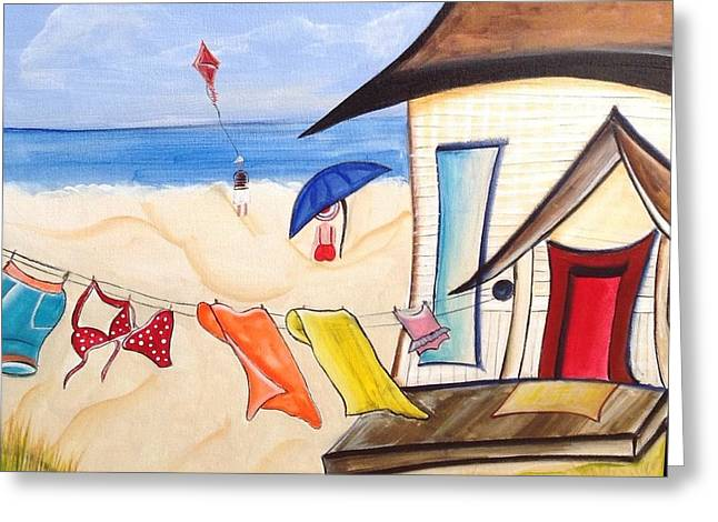 Kite Greeting Cards - At the Beach  Greeting Card by Heather Lovat-Fraser