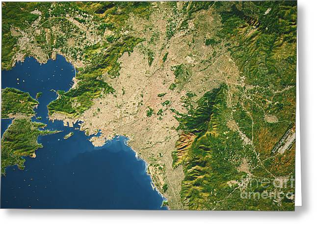 Athens City Topographic Map Natural Color Greeting Card by Frank Ramspott