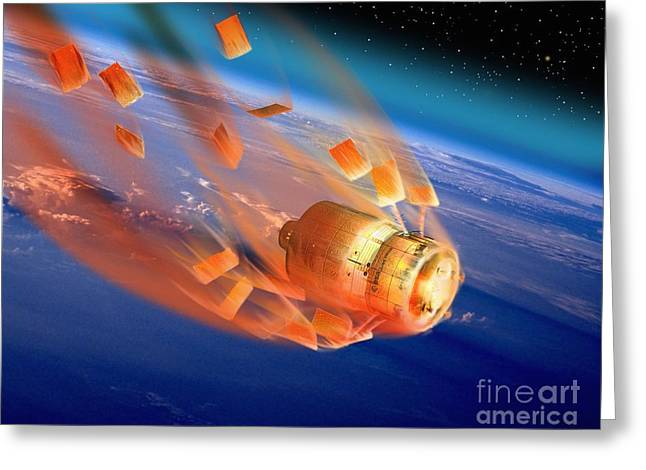 Automated Transfer Vehicles Greeting Cards - Atv Re-entry, Artwork Greeting Card by David Ducros