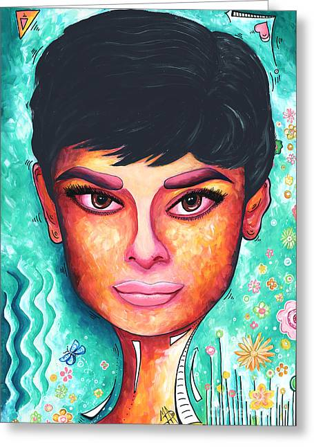 Bold Style Greeting Cards - Audrey Hepburn Colorful PoP Art Style Original Painting Greeting Card by Megan Duncanson