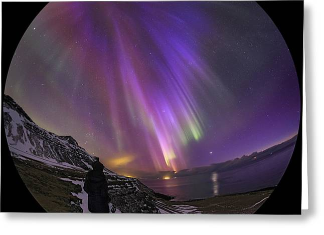 Reflection In Water Greeting Cards - Aurora Borealis Over Iceland, Fisheye Greeting Card by Babak Tafreshi