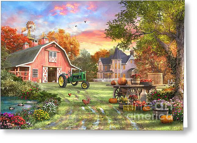 Autumn Farm Greeting Card by Dominic Davison