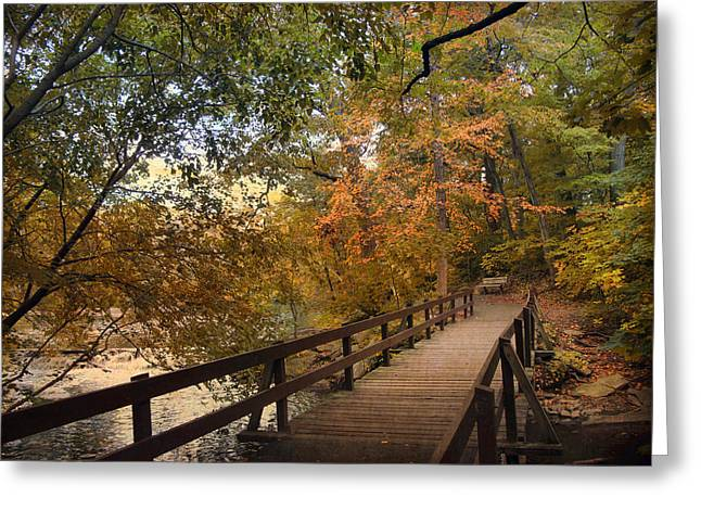 Wooden Bridges Greeting Cards - Autumn Footbridge Greeting Card by Jessica Jenney