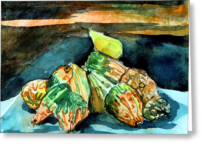 Sunset Posters Drawings Greeting Cards - Autumn Gourds  Greeting Card by Mindy Newman