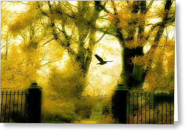 Crows In Autumn Greeting Cards - Autumn Graveyard Greeting Card by Gothicolors Donna Snyder