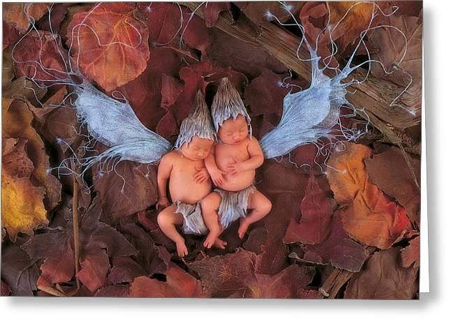 Fairies Photographs Greeting Cards - Autumn Leaf Fairies Greeting Card by Anne Geddes