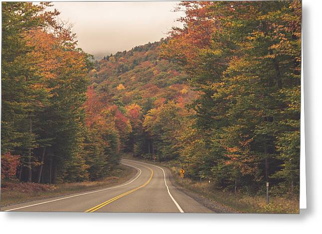 Trees Reflecting In Water Greeting Cards - Autumn Road Greeting Card by Black Brook Photography