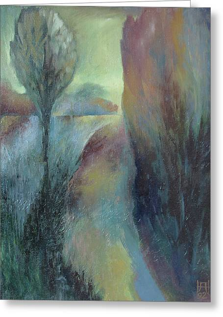 Transfer Paintings Greeting Cards - Autumn Way Greeting Card by Alexander Nam