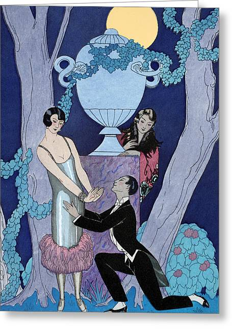 Beaux-arts Greeting Cards - Avarice Greeting Card by Georges Barbier