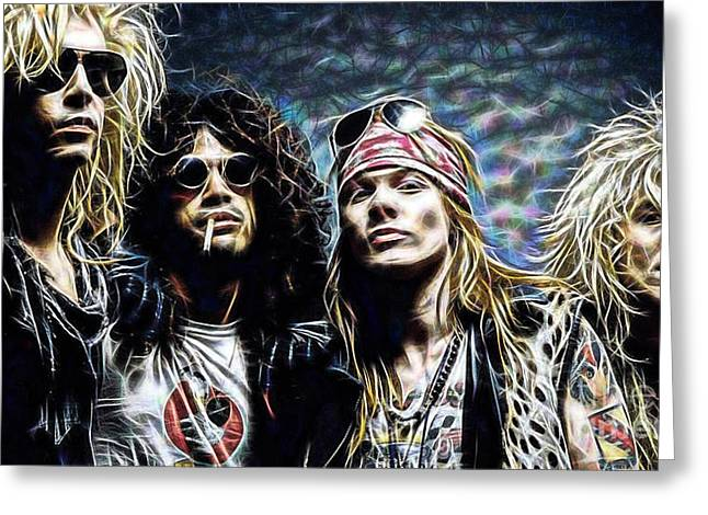 Axl Rose Greeting Cards - Axl Rose and Slash Guns N Roses Greeting Card by Marvin Blaine